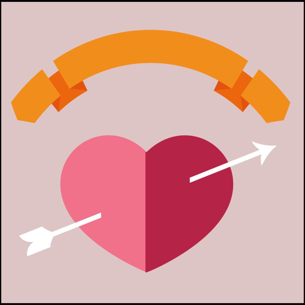 corazón con banner png