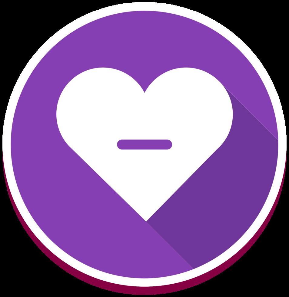 ícone de coração menos png