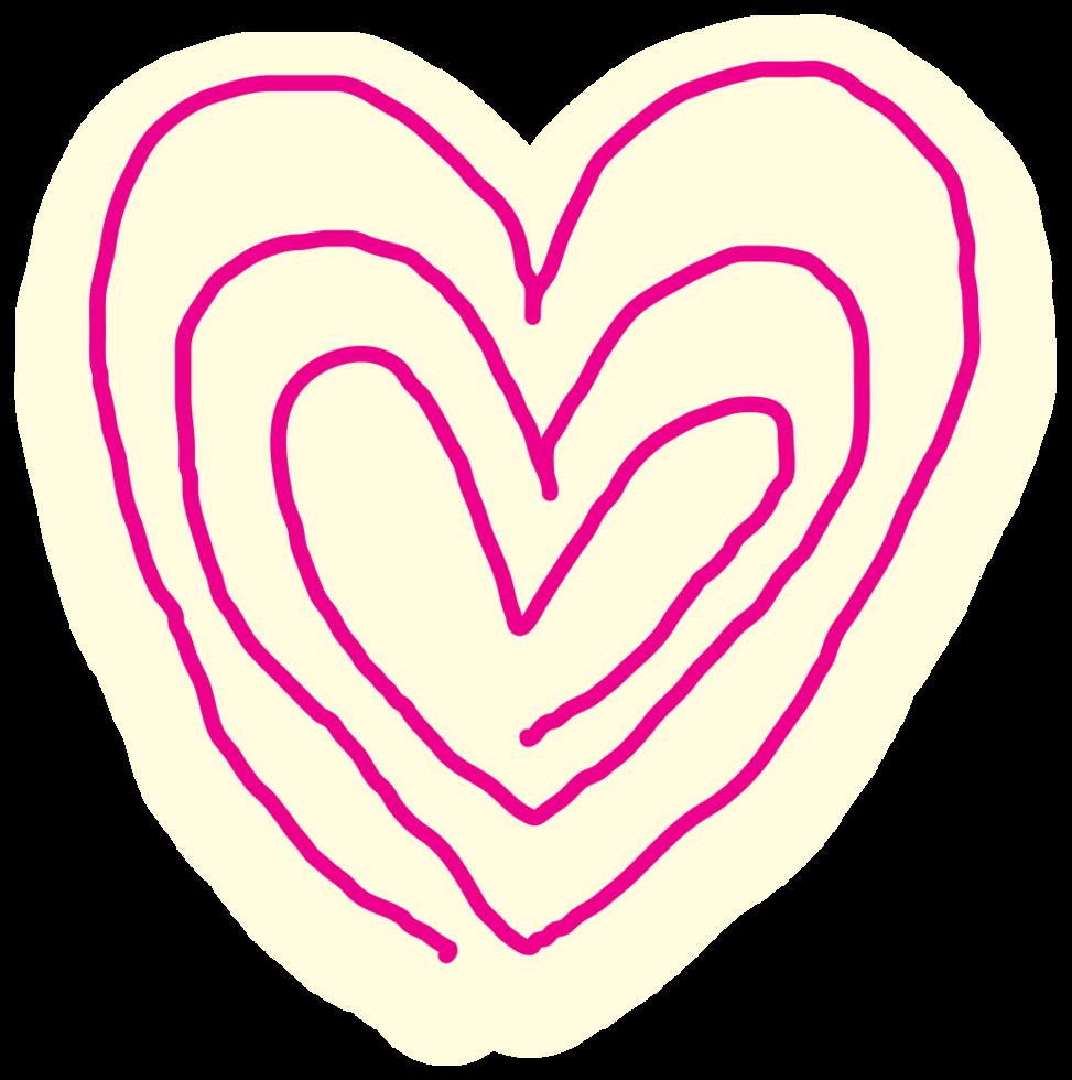 Heart hand drawn spiral png