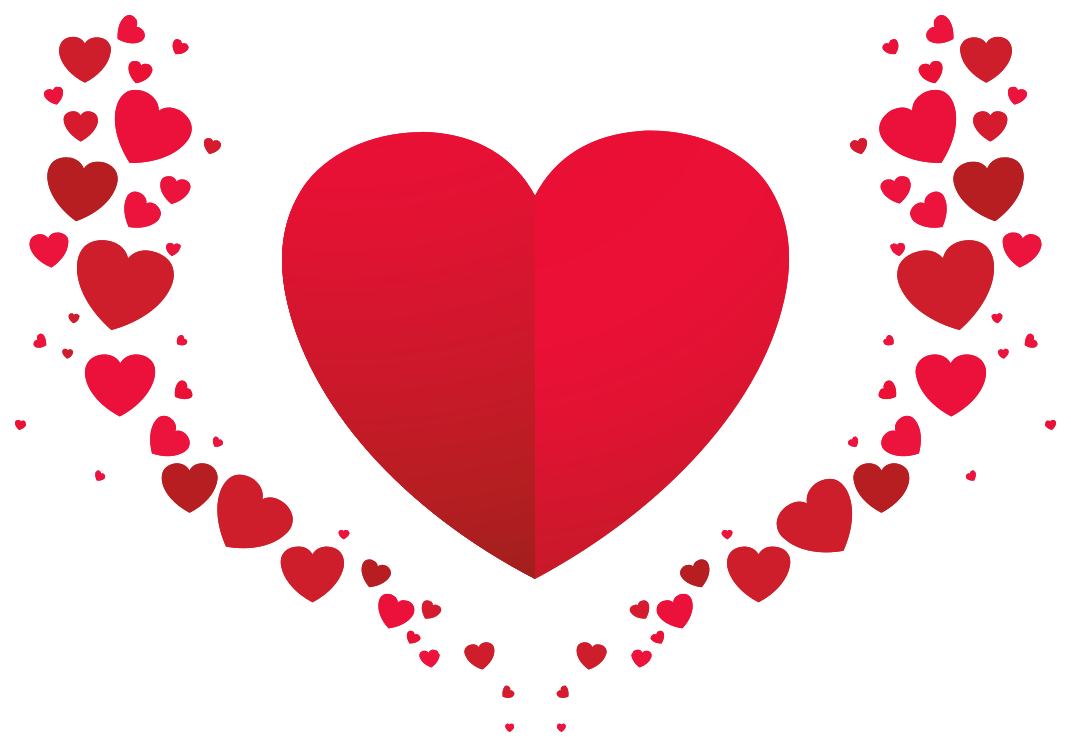 disposizione romantica del cuore png