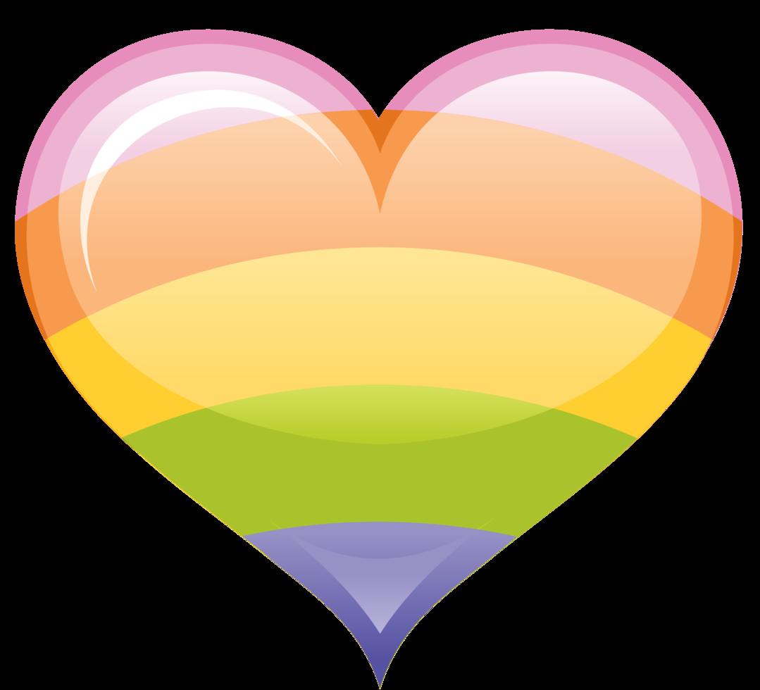 cuore retrò arcobaleno png