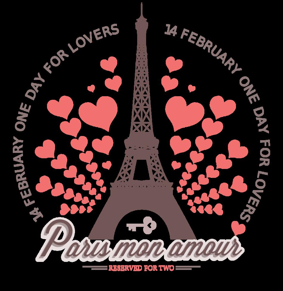 San Valentín de París con corazón png