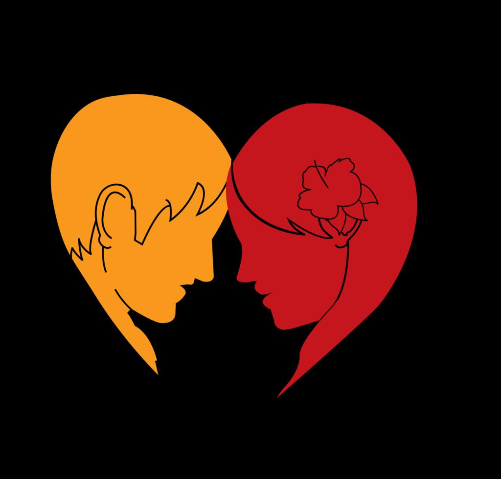 coração amoroso homem e mulher png