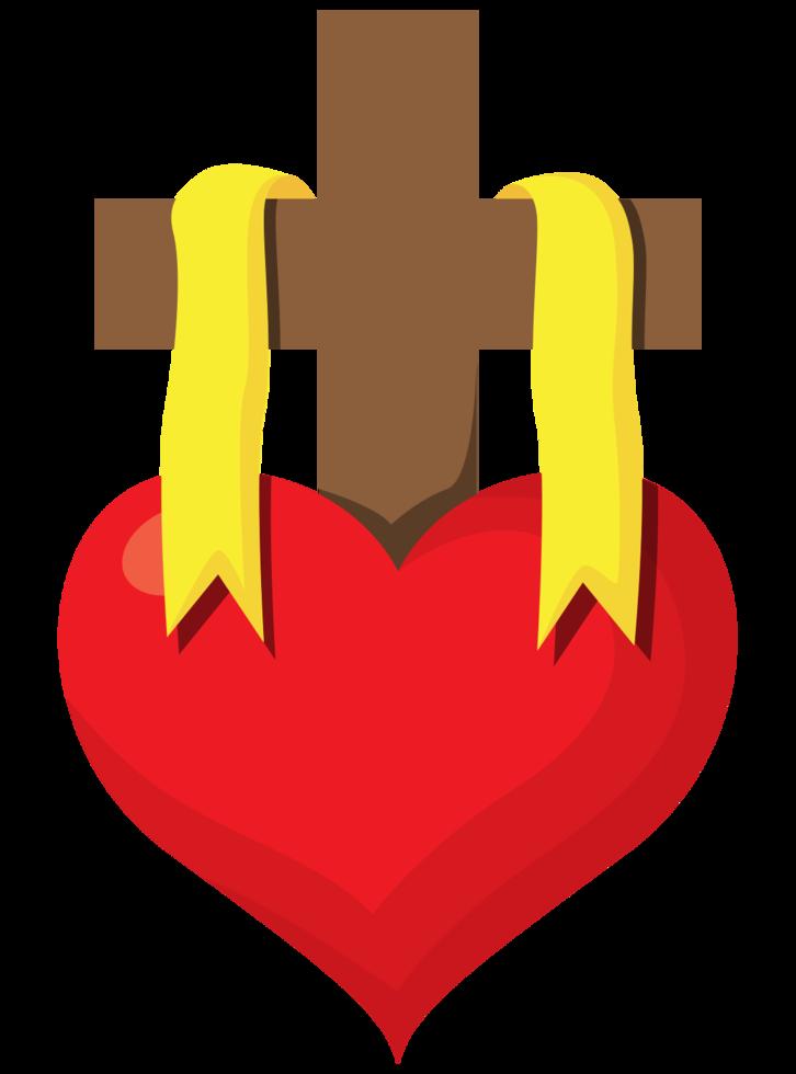 croix de coeur sacré png