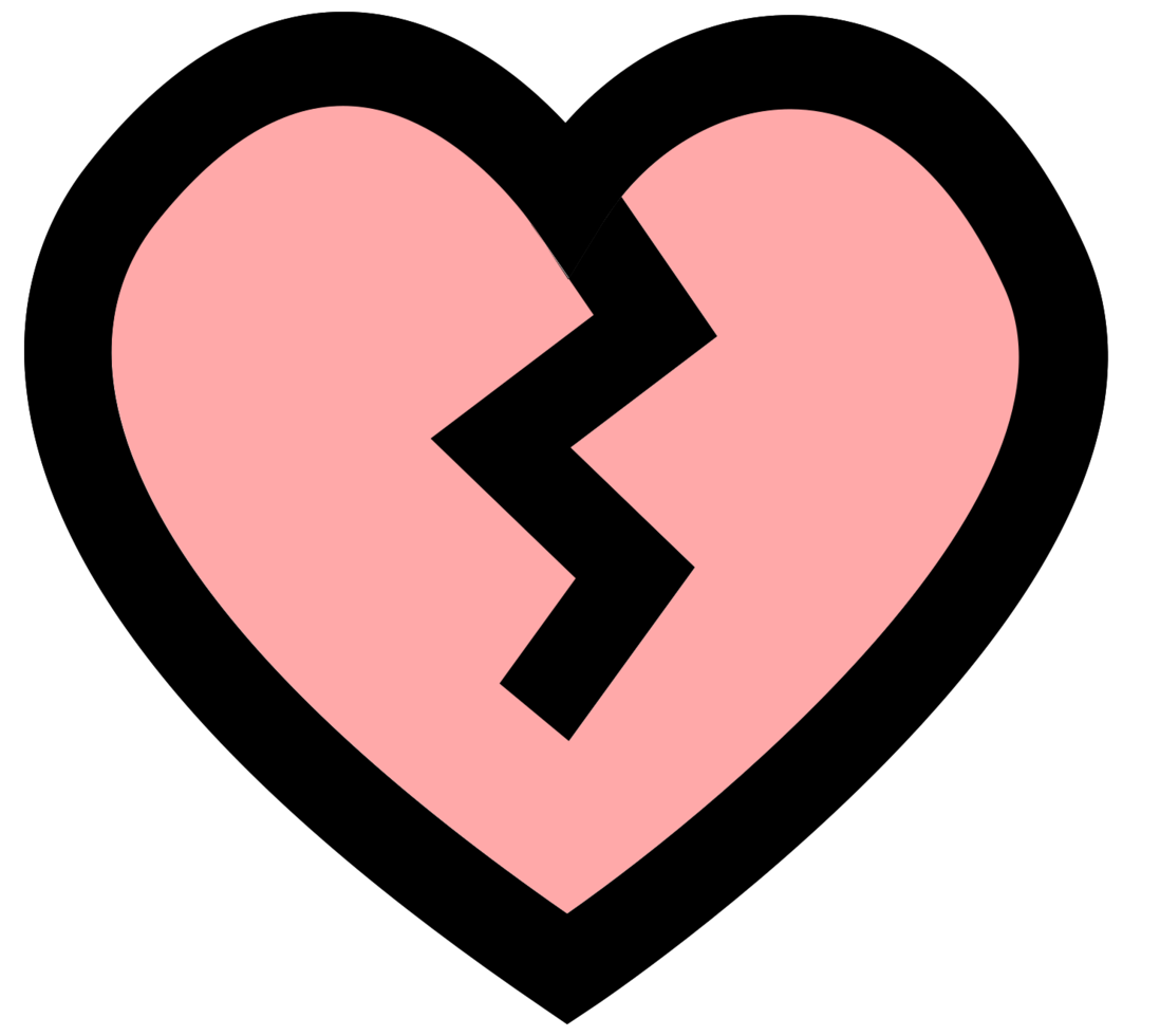 Heart icon broken png
