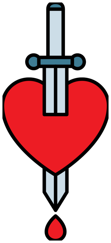 Heart with dagger tattoo png