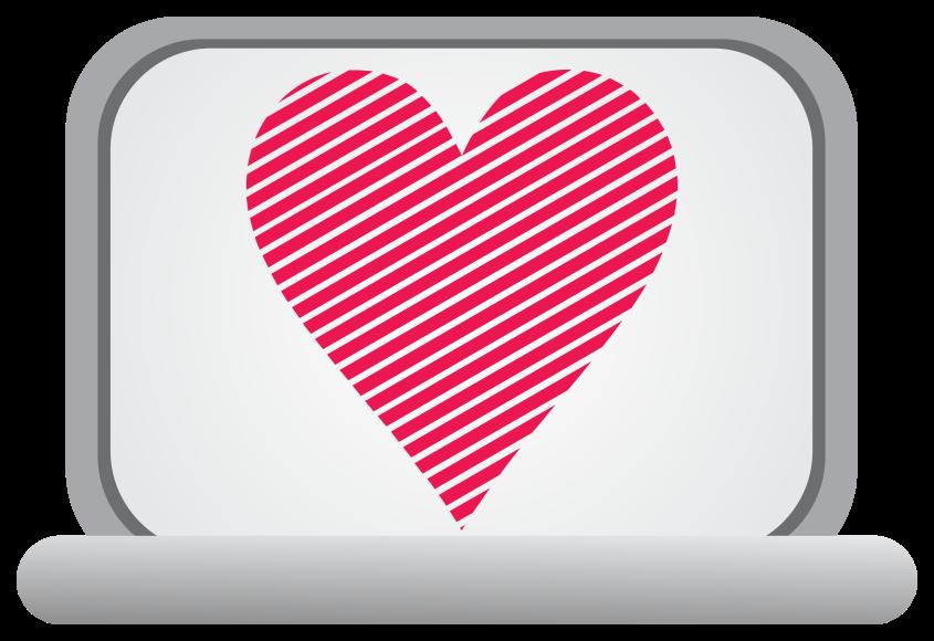 computadora portátil del corazón png