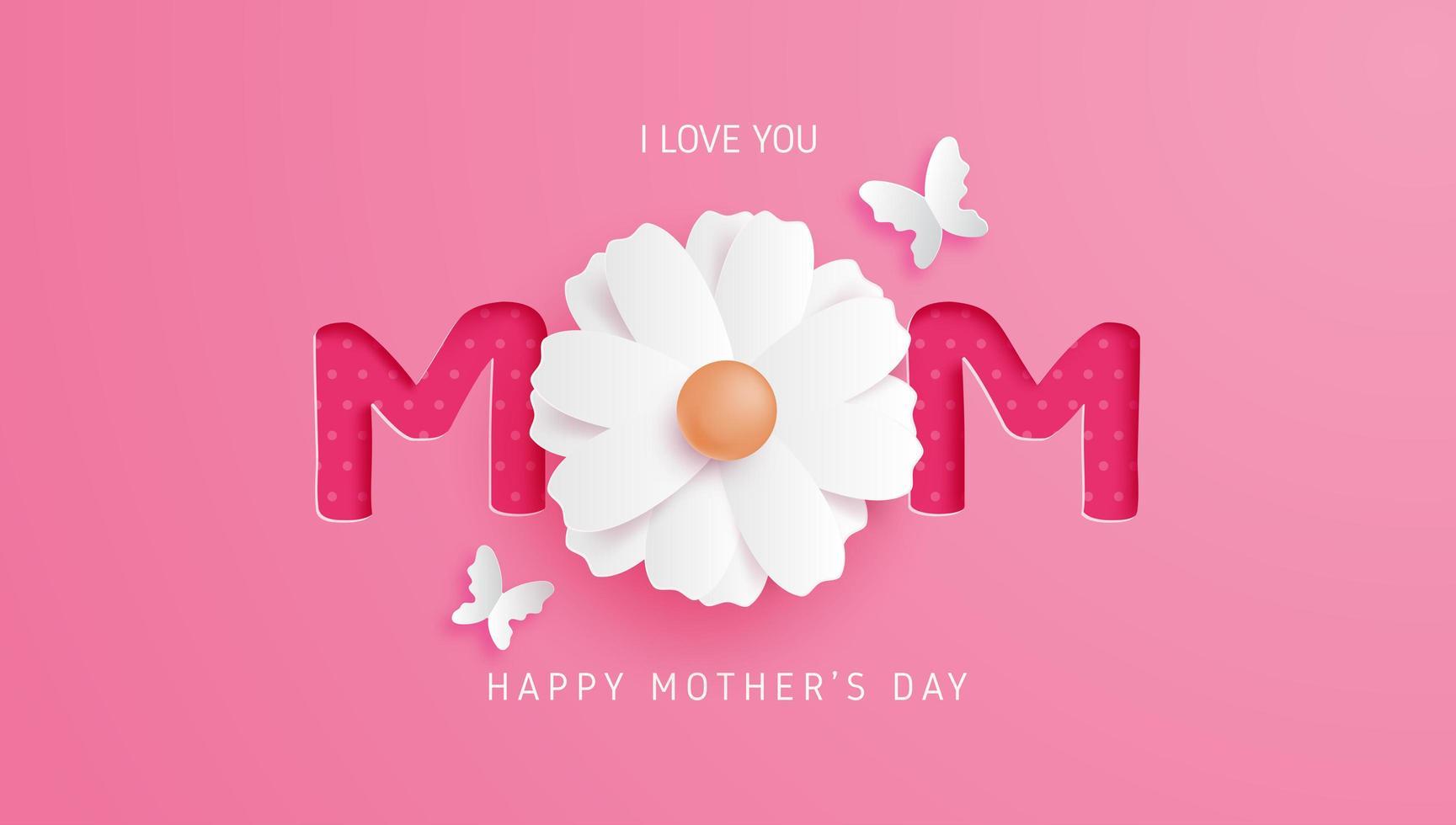 tipografía mamá rosa con flor como letra o vector