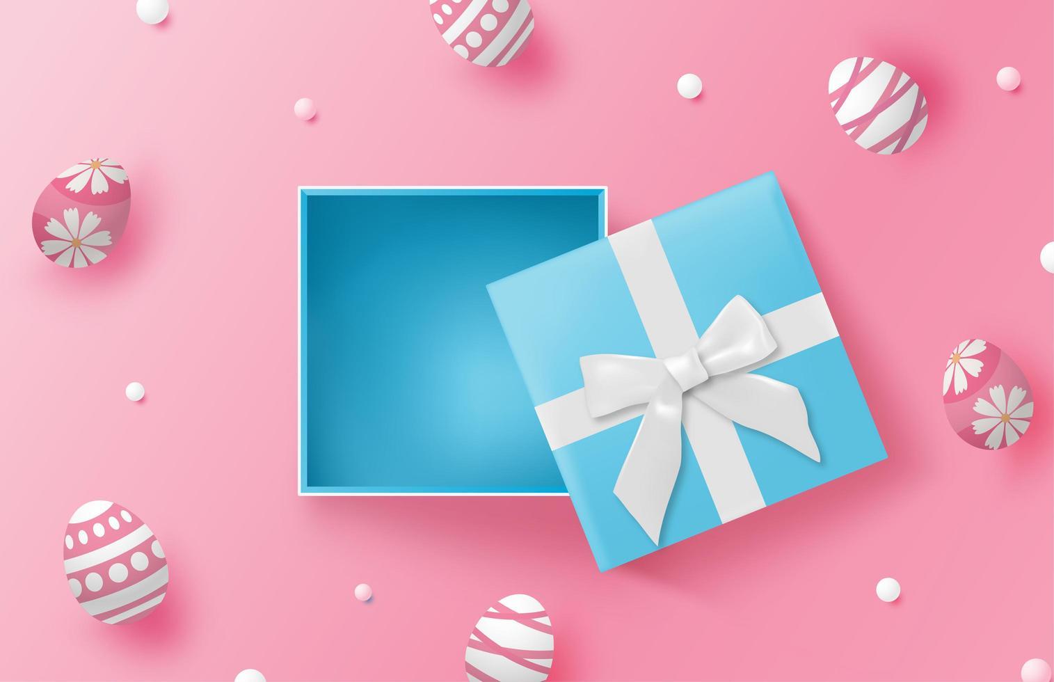 Vista superior de la caja de regalo azul con huevos de pascua vector