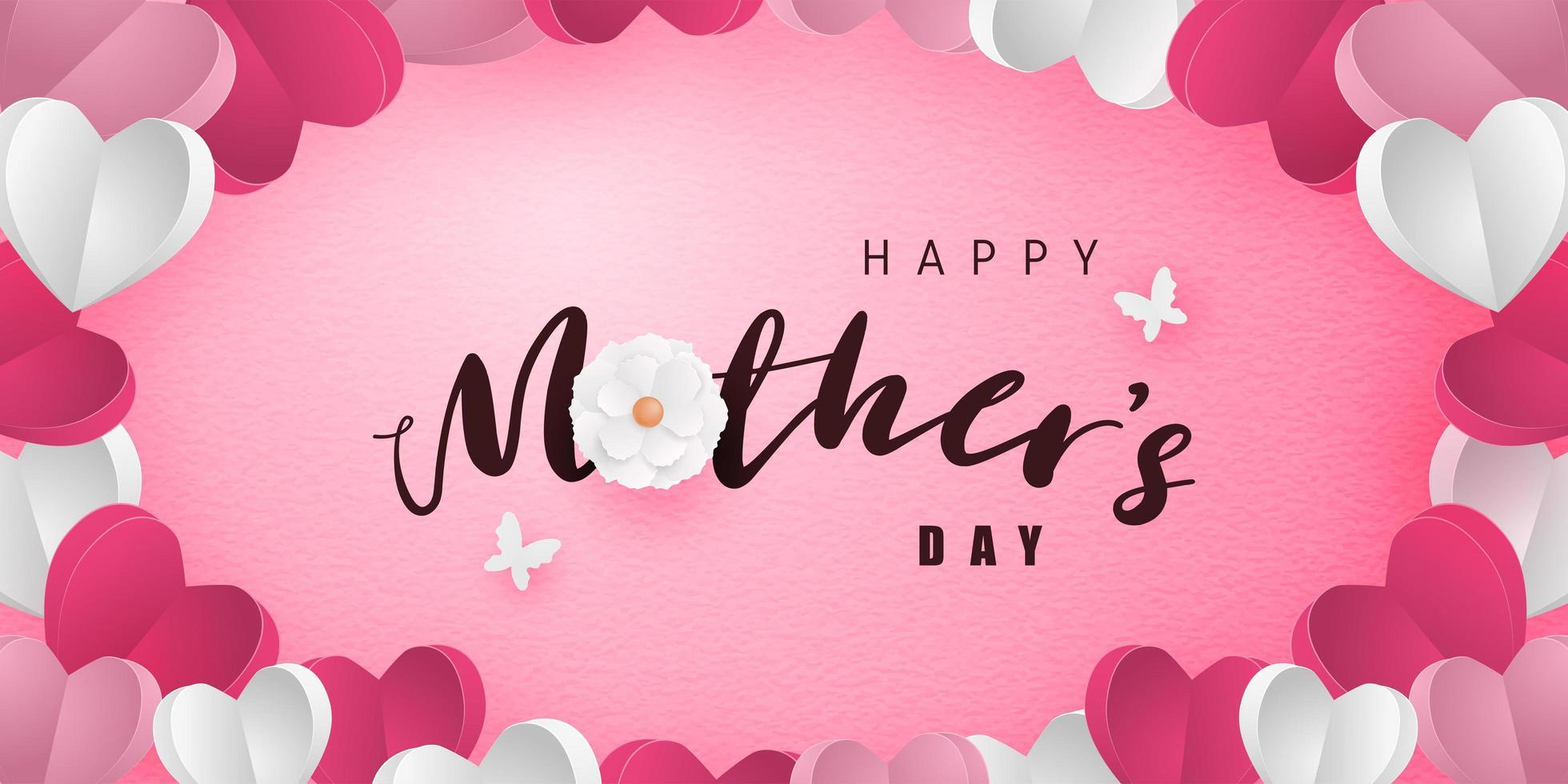 caligrafía del día de la madre en papel corazón marco de arte vector