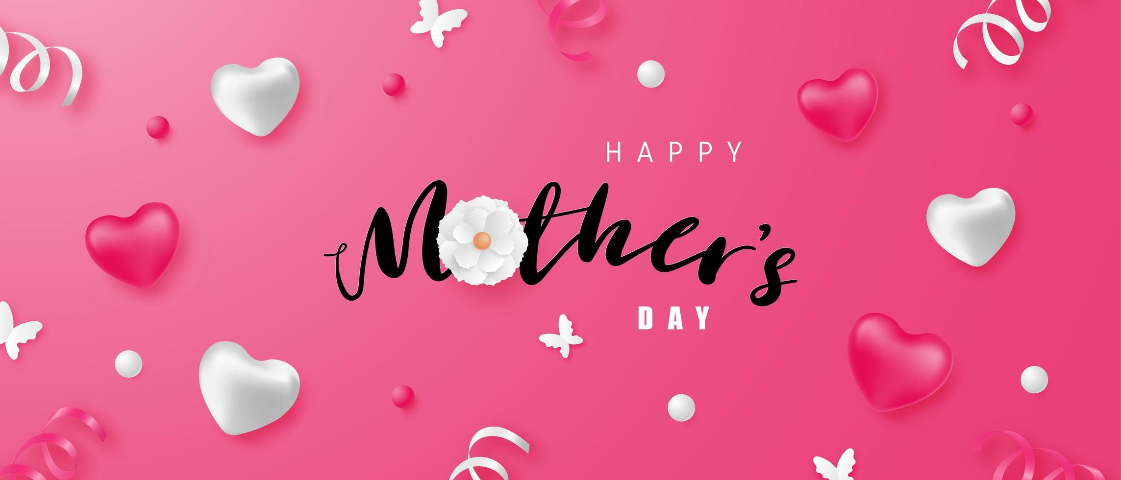 Feliz día de la madre banner con corazones y confeti vector