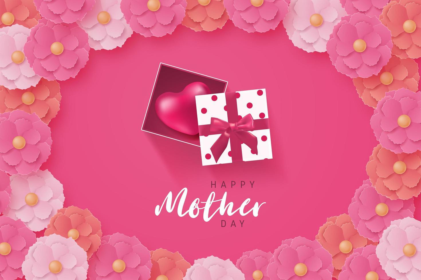 Cartel del día de la madre con regalo de corazón y marco de flores vector