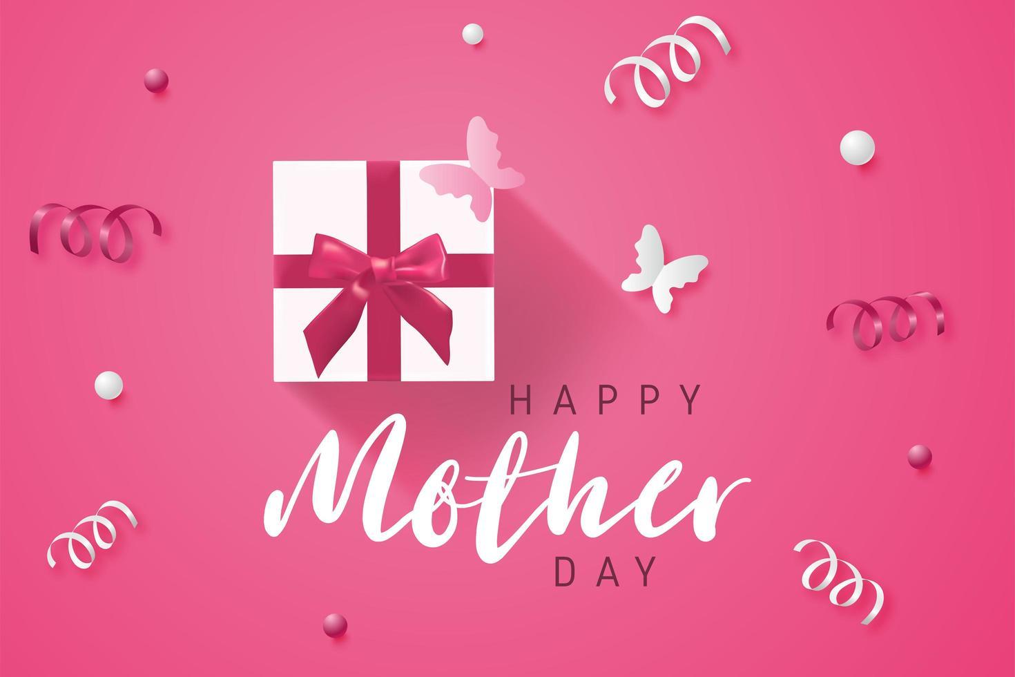 Cartel rosado del día de la madre con regalo y confeti vector