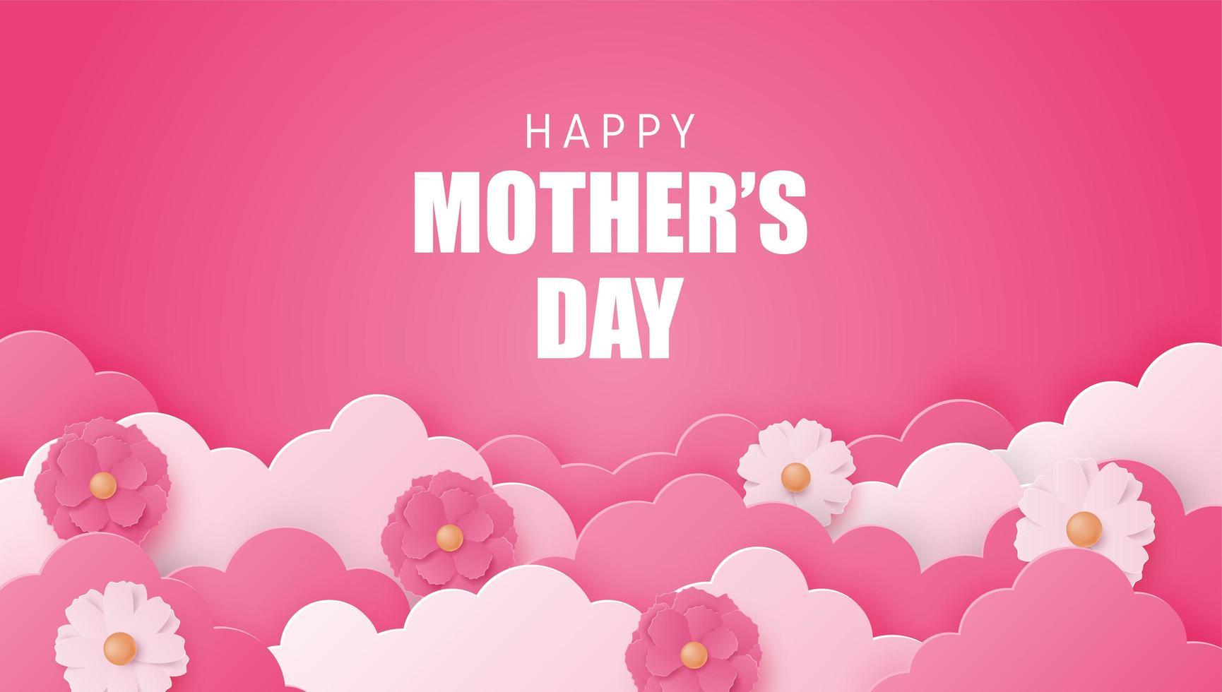 Cartel del día de la madre con nubes y flores en capas vector