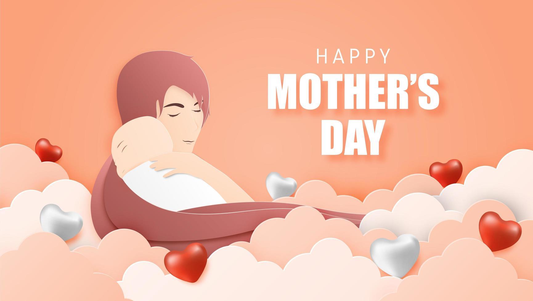 Cartel del día de la madre con mamá abrazando al bebé en las nubes vector