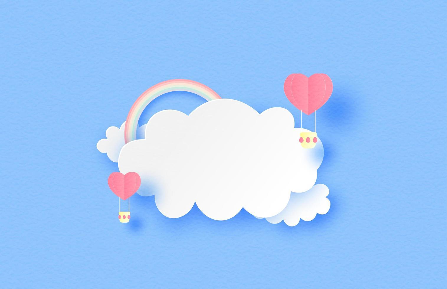 Globos de aire en forma de corazón en las nubes con arco iris vector