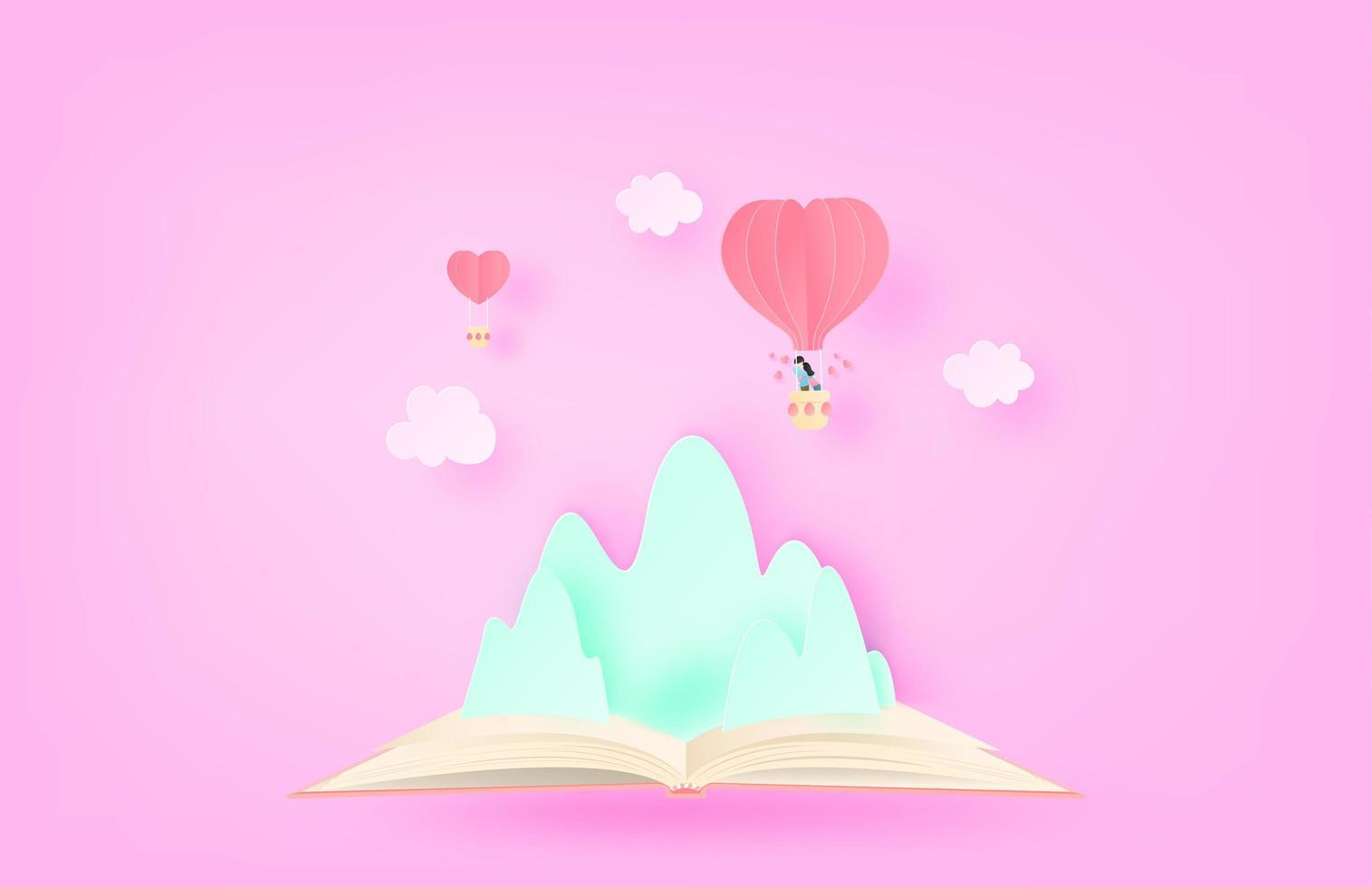 pareja en globo flotando sobre la montaña y reservar vector