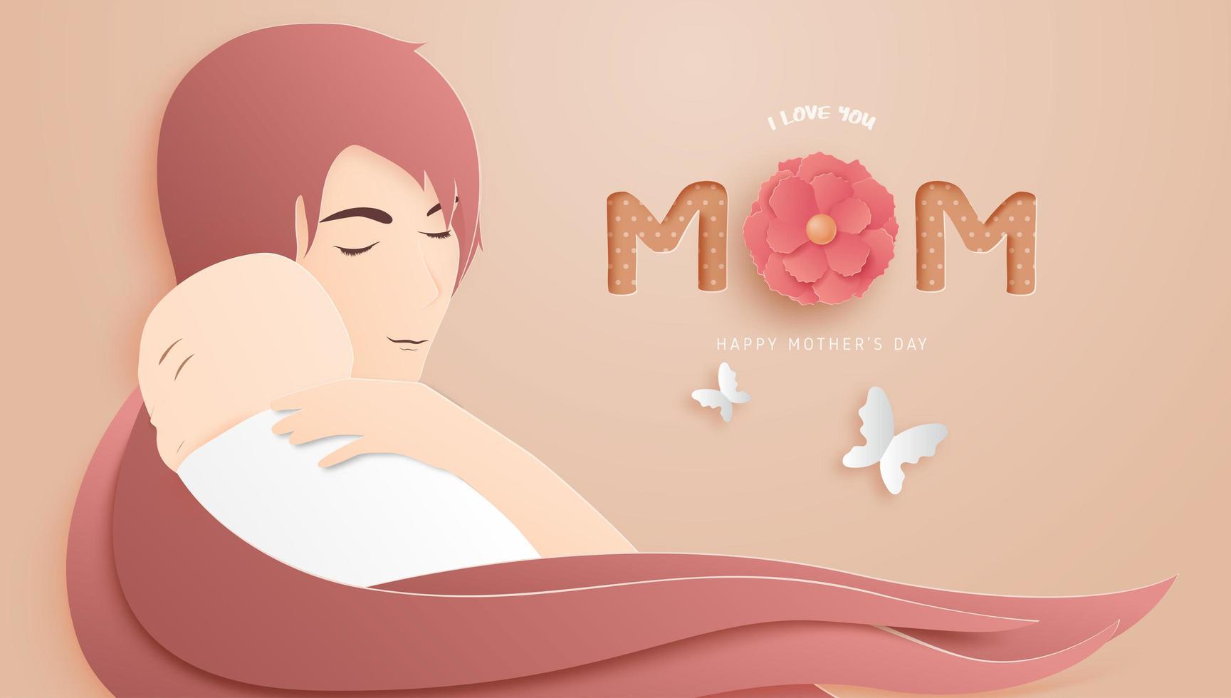 arte della carta poster festa della mamma con mamma che abbraccia bambino vettore