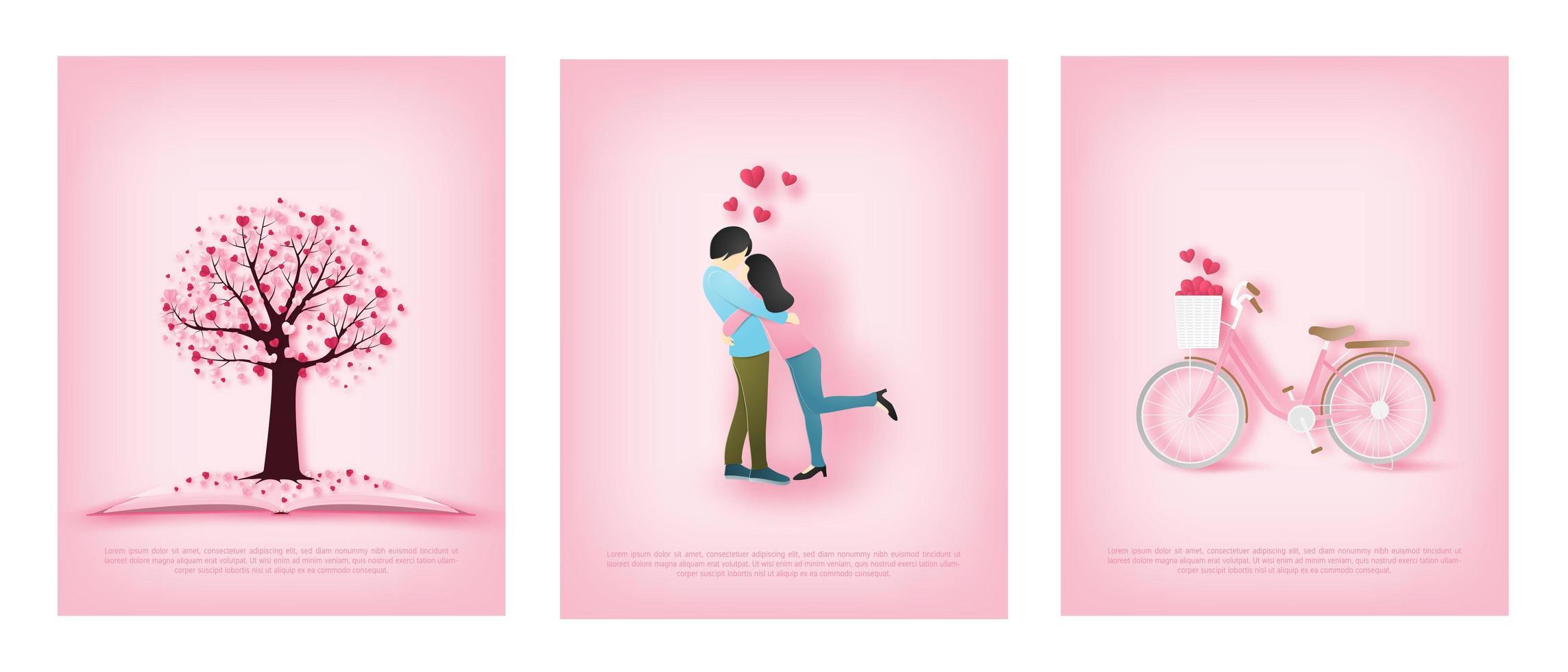 tarjetas de papel de arte con pareja, bicicleta y árbol de corazón vector