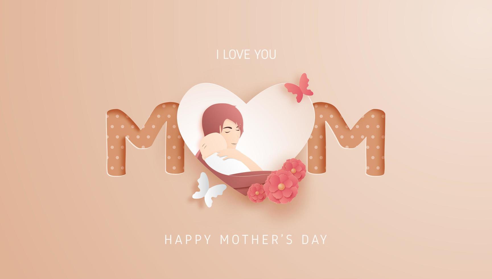 Cartel del día de la madre con mamá y bebé en el corazón vector