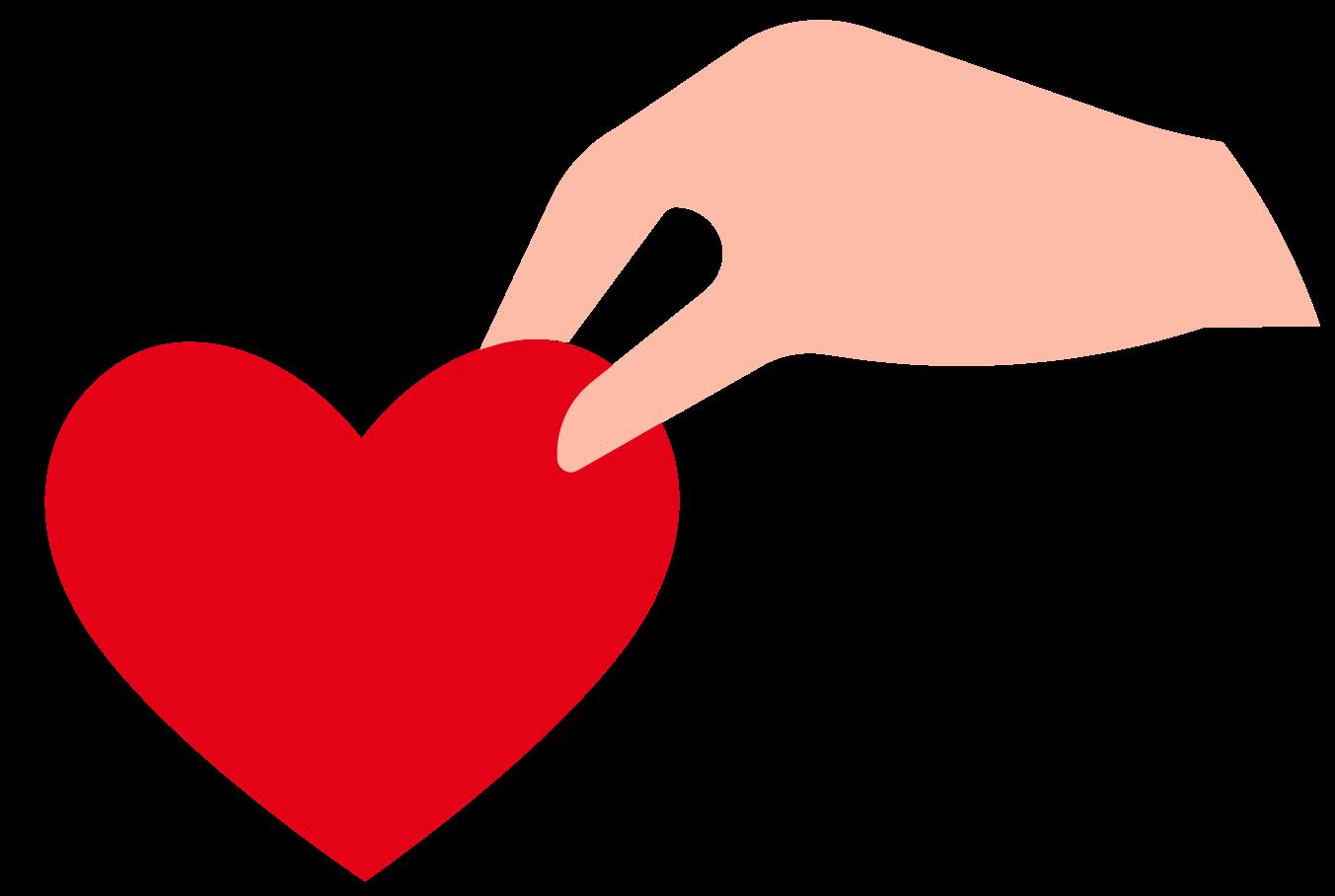 corazón ayudando a mano png