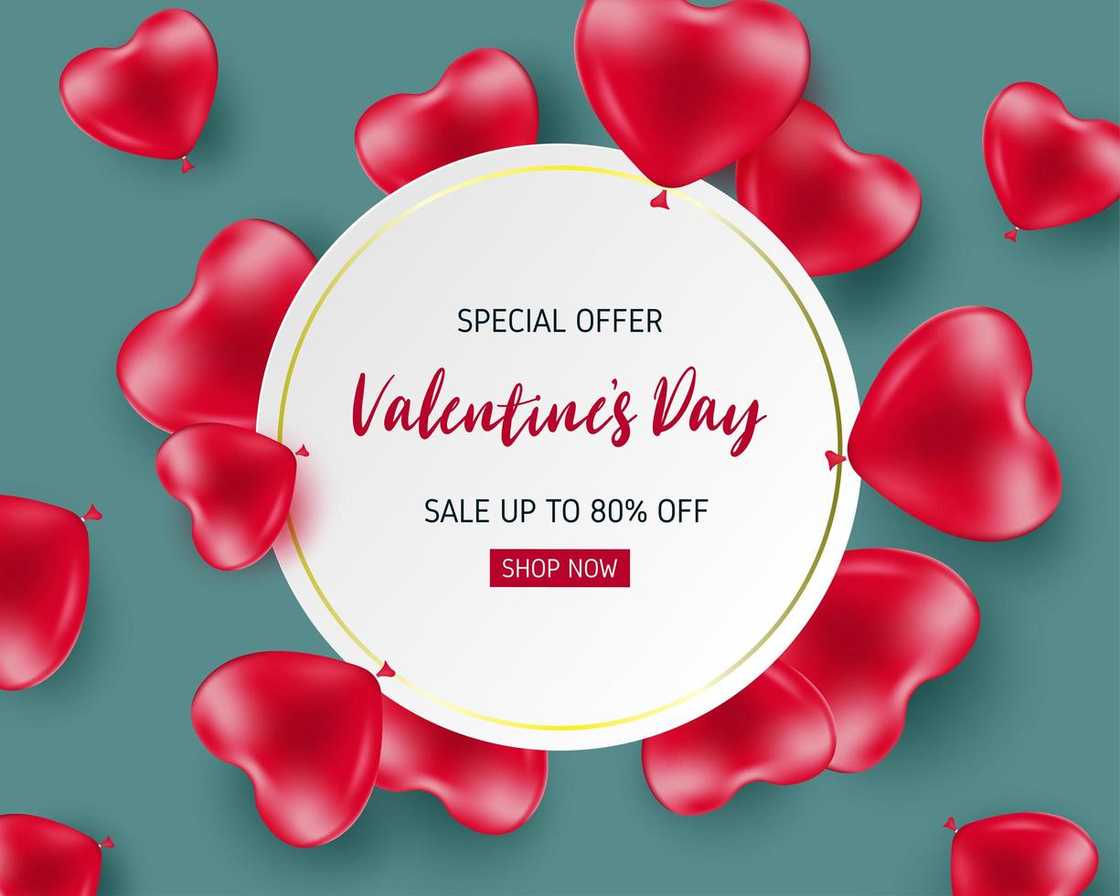 Sale poster with heart balloons surrounding circle frame vector