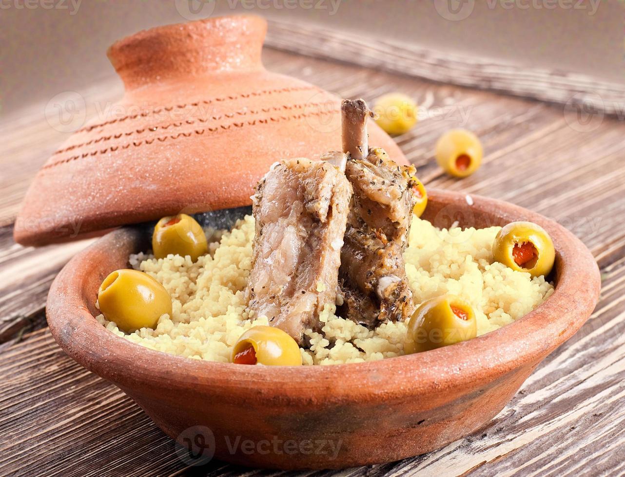 Moroccan tagine with lamb ribs photo