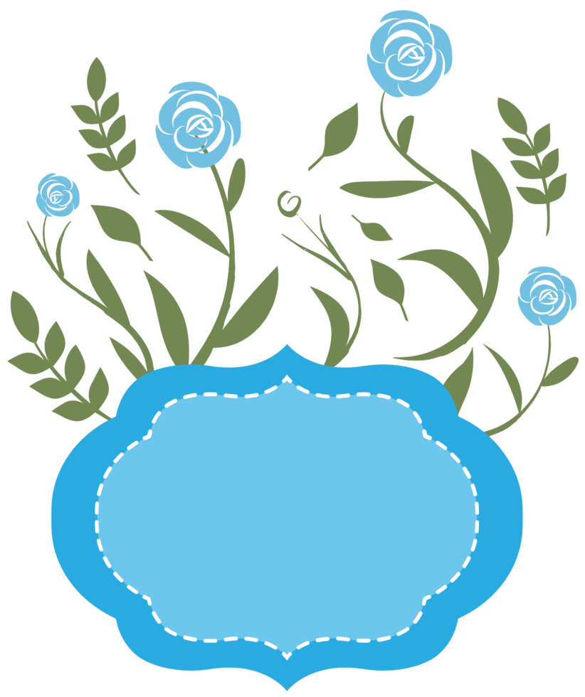 marco floral azul png