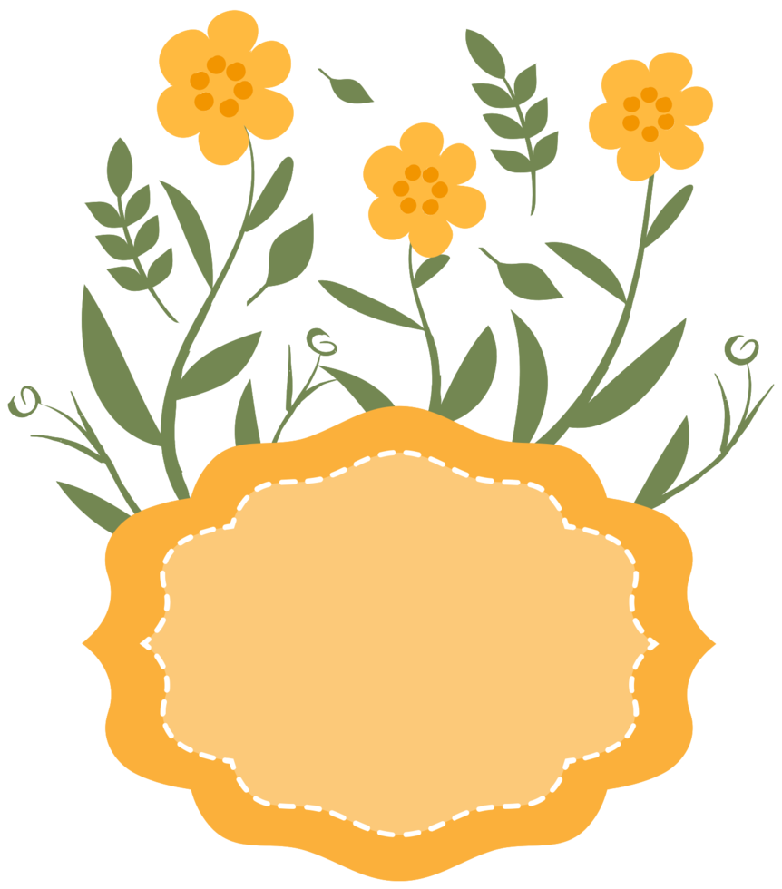 gelber Blumenrahmen png