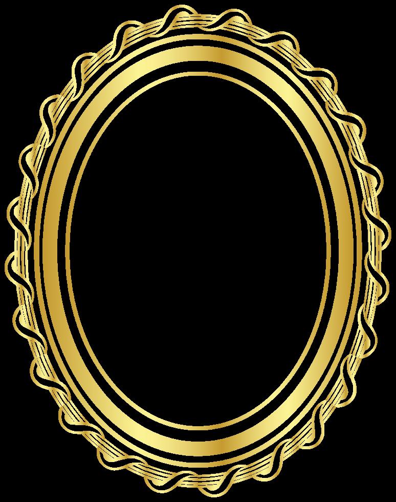 cadre ovale doré png