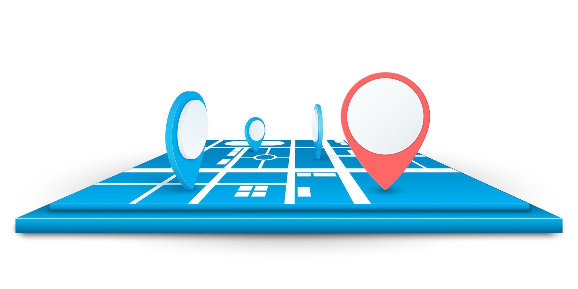 ícones de pino de navegador no mapa vetor