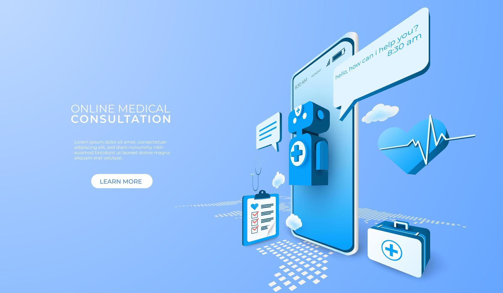 consulta médica en línea de tecnología digital vector