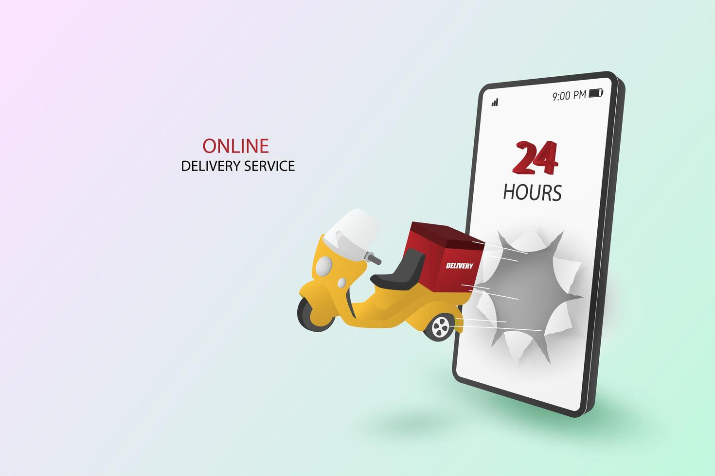 Online Delivery Scooter Bursting Through Smartphone Screen vector