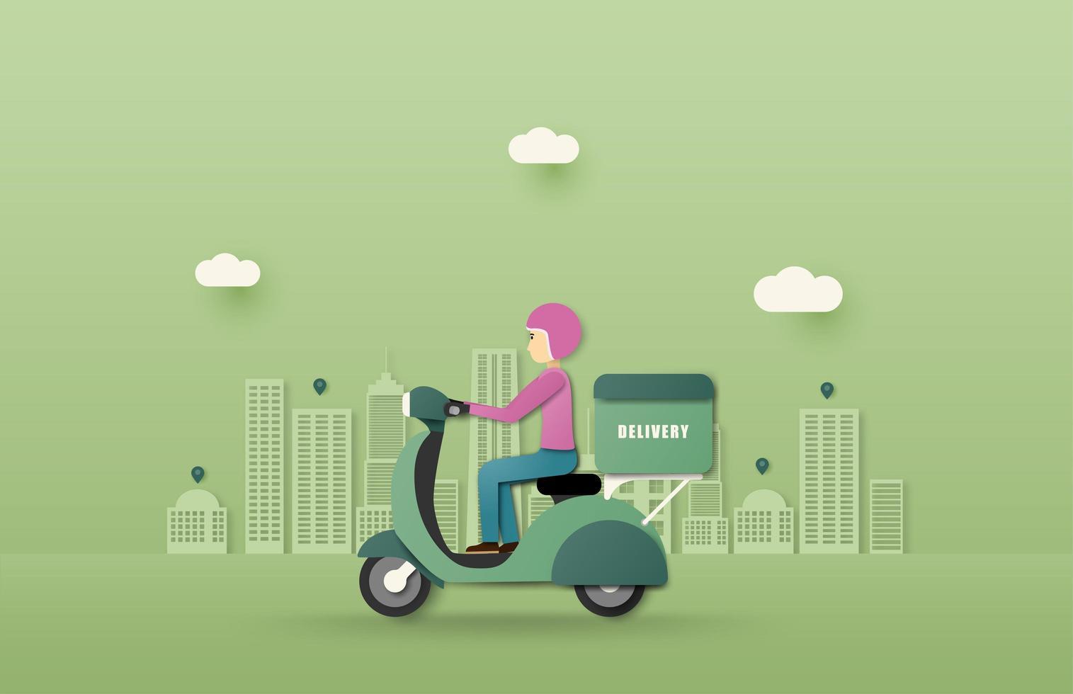 servicio de entrega en línea entrega de conducción de scooter vector