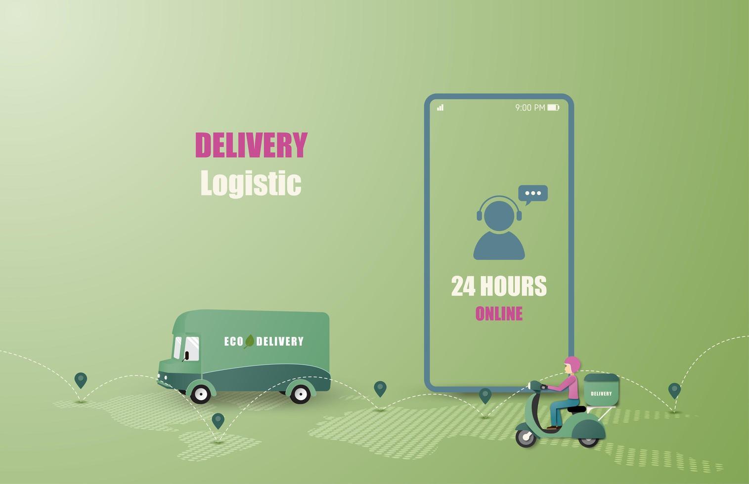 serviço de entrega on-line van de entrega e condução de moto vetor