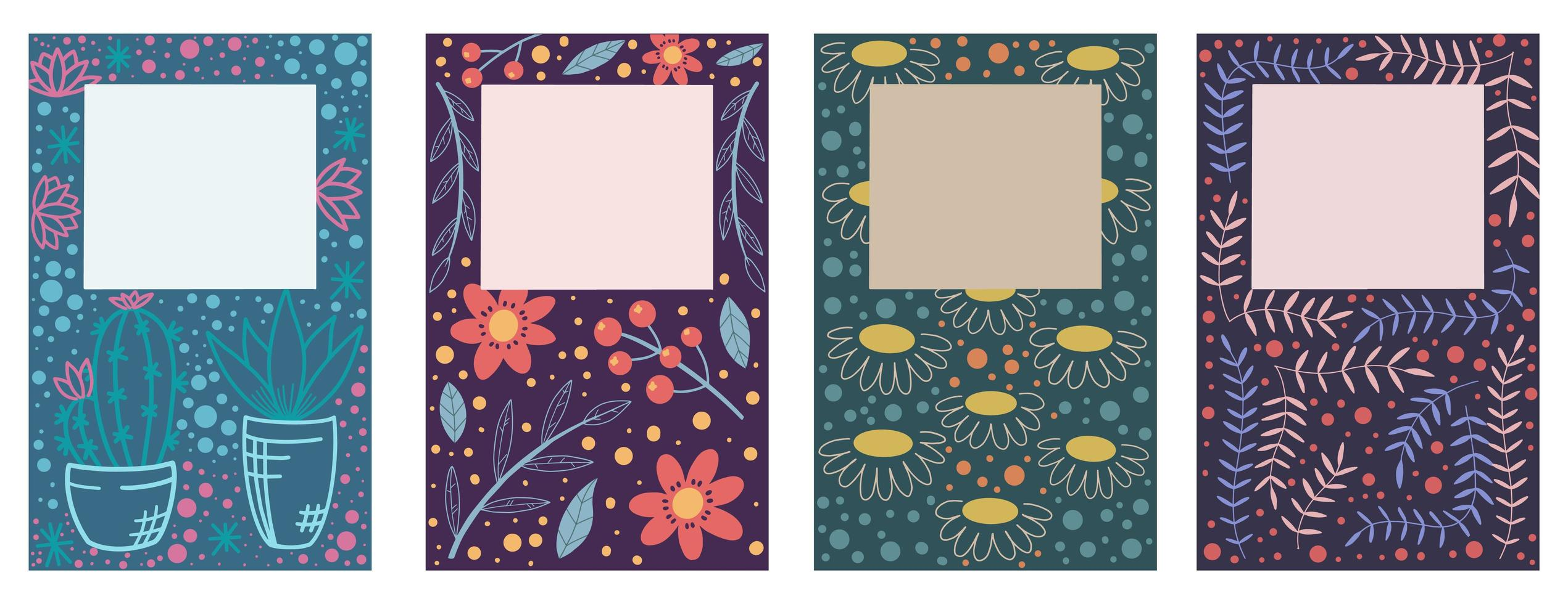 Cover Design with Floral Pattern Set vector
