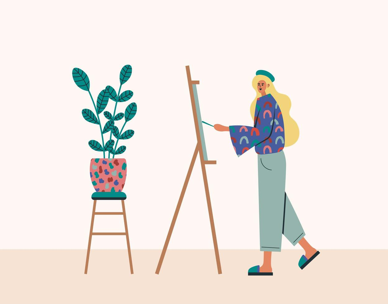 mujer joven pintando en caballete en casa vector