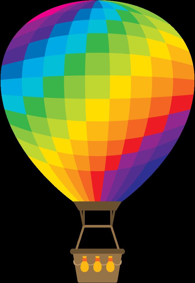 balão de ar quente do arco-íris png