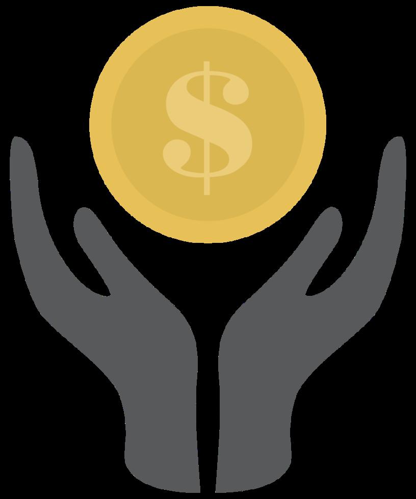 mão e dólar de moeda png