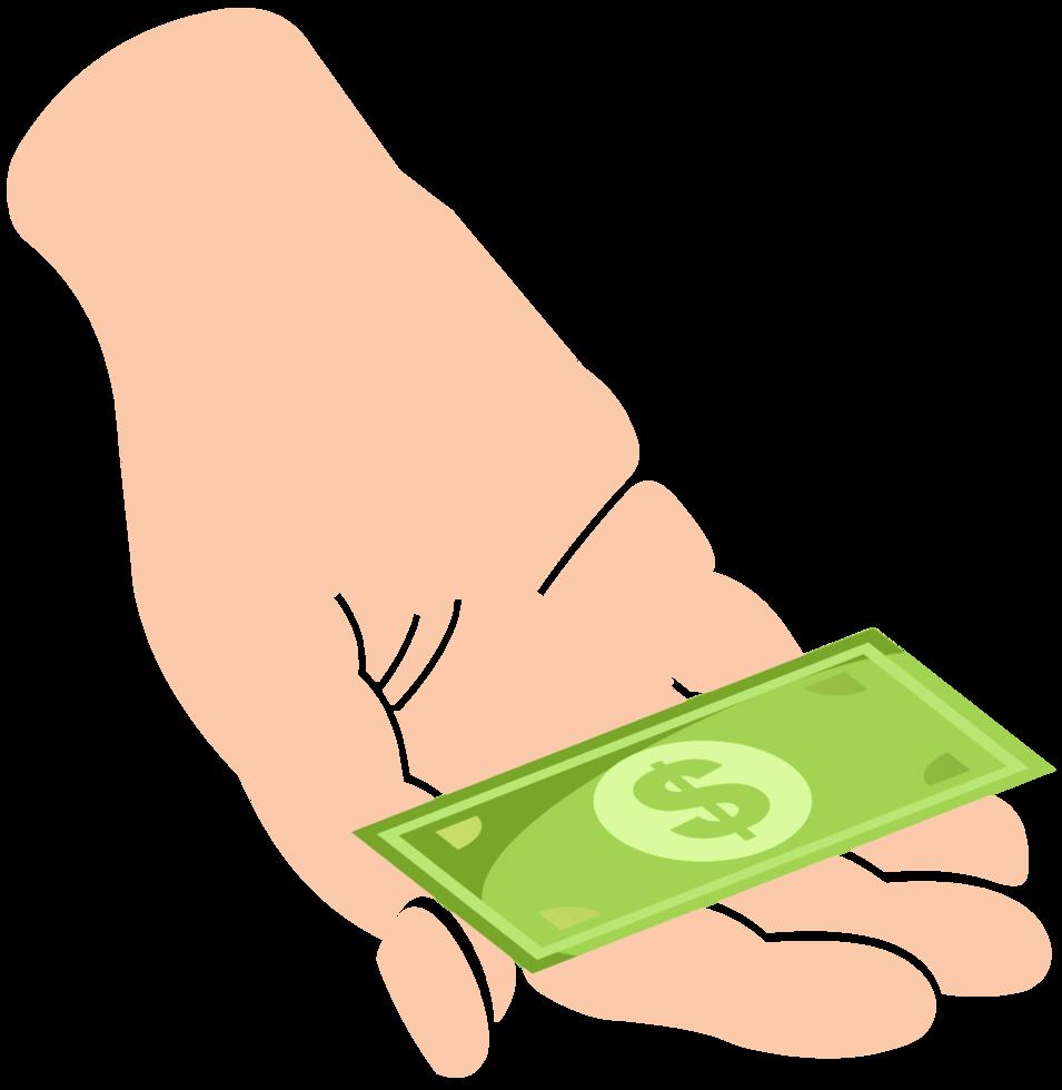 mano con i soldi png