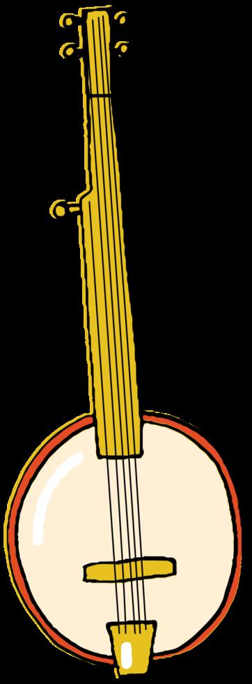 banjo strumento musicale disegnato a mano png
