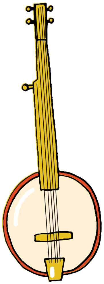 Instrumento musical dibujado a mano banjo png