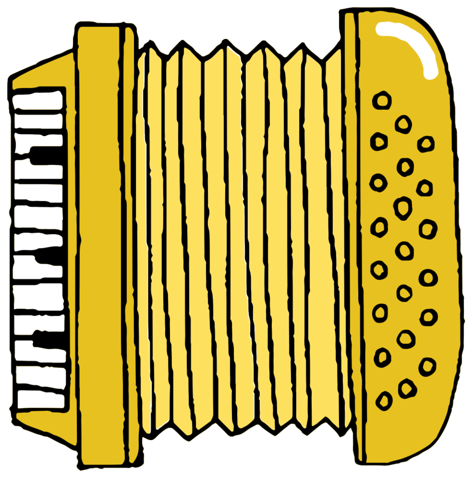 handgetekende muziekinstrument accordeon png