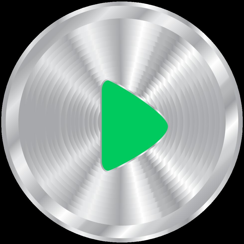 reprodução de botão de música prata png
