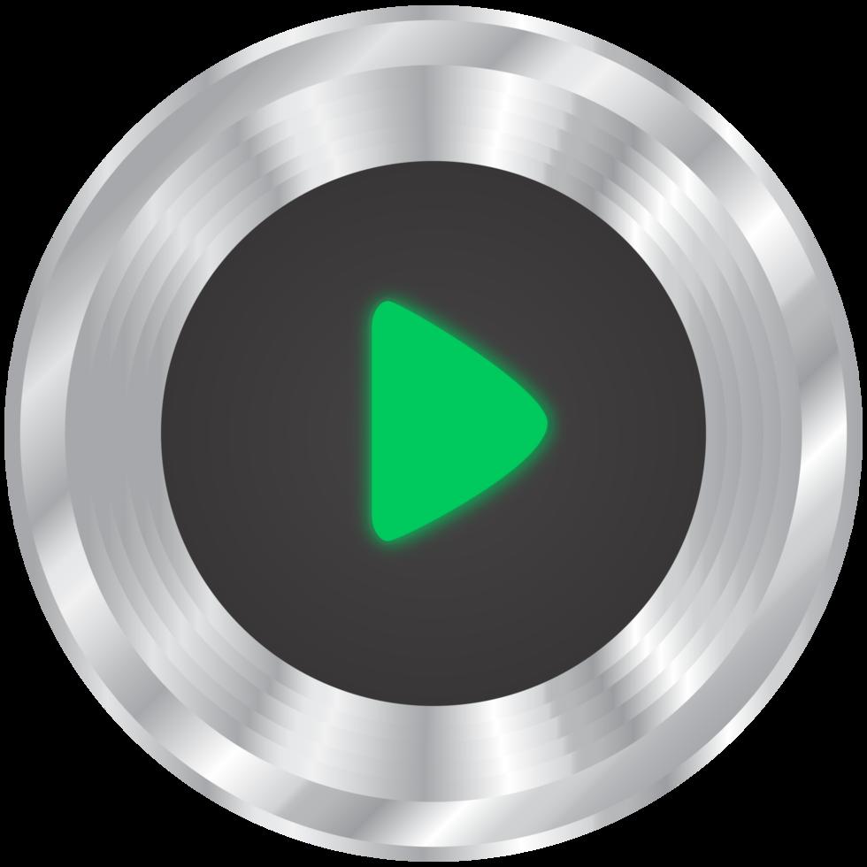 zilveren muziek button play png