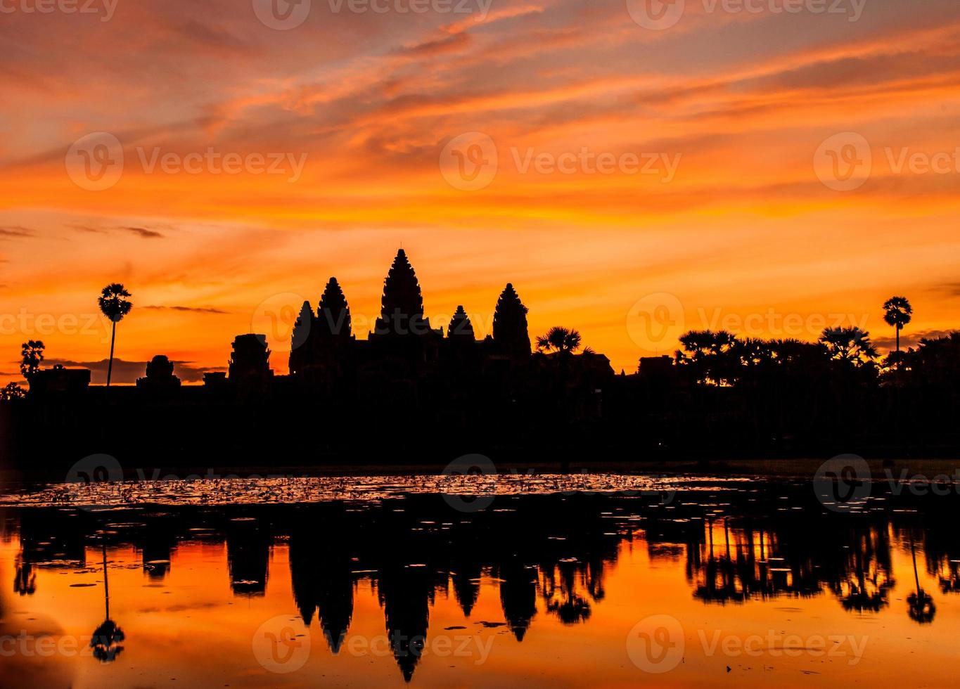 Silhouette Angkor Wat castle. photo