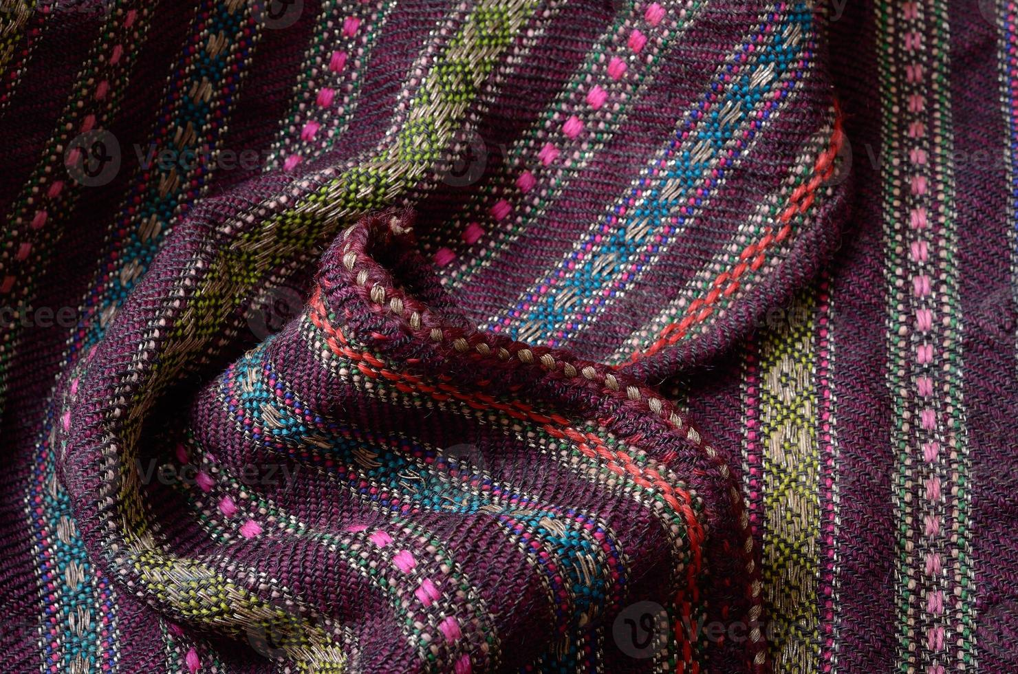 Close-up of the homespun woolen wrinkled photo