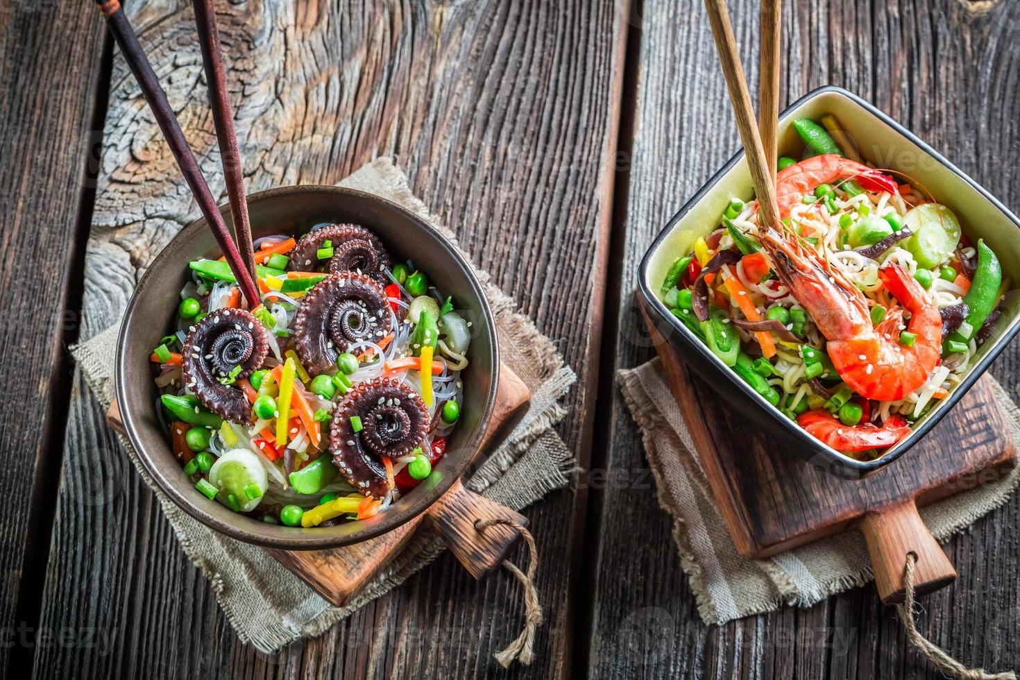 Vegetables with noodles and seafood photo