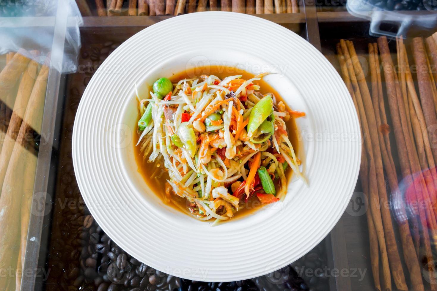 Thai papaya salad,Som tum. photo