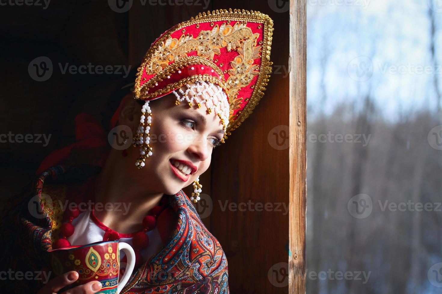 Russian girl in a kokoshnik photo